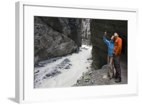 Switzerland, Canton Bern, Bernese Oberland, Grindelwald, Clemgia Canyon, Glacial Canyon, Couple-Rainer Mirau-Framed Art Print
