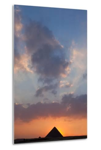 Egypt, Cairo, Pyramids of Giza, Sunset-Catharina Lux-Metal Print