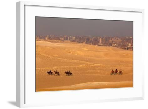 Egypt, Cairo, Giza, Evening Light, Camels and Horses-Catharina Lux-Framed Art Print