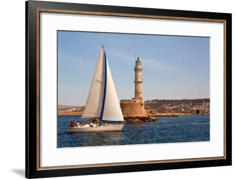 Greece, Crete, Chania, Port Entrance, Sailboat-Catharina Lux-Framed Art Print