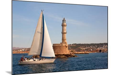 Greece, Crete, Chania, Port Entrance, Sailboat-Catharina Lux-Mounted Photographic Print
