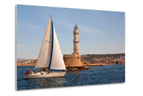 Greece, Crete, Chania, Port Entrance, Sailboat-Catharina Lux-Metal Print
