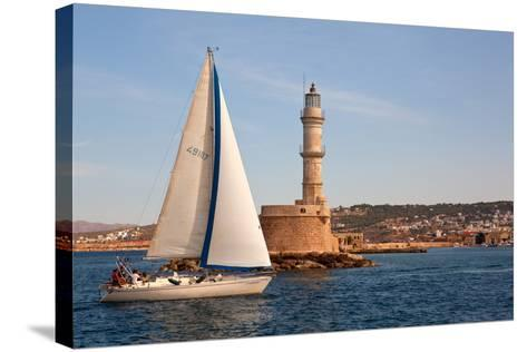 Greece, Crete, Chania, Port Entrance, Sailboat-Catharina Lux-Stretched Canvas Print