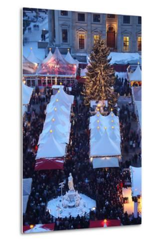 Germany, Berlin, Dusk, Gendarmenmarkt, Christmas Market from Above-Catharina Lux-Metal Print