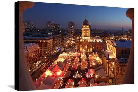 Germany, Berlin, Dusk, Gendarmenmarkt, German Church and Christmas Market from Above-Catharina Lux-Stretched Canvas Print