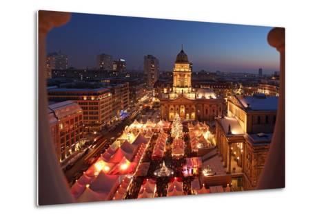 Germany, Berlin, Dusk, Gendarmenmarkt, German Church and Christmas Market from Above-Catharina Lux-Metal Print