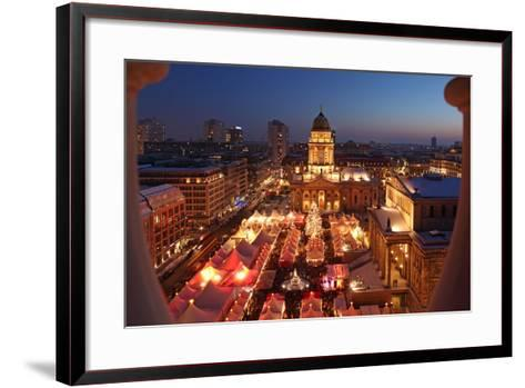 Germany, Berlin, Dusk, Gendarmenmarkt, German Church and Christmas Market from Above-Catharina Lux-Framed Art Print