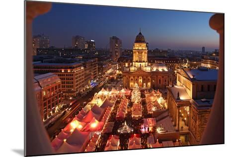 Germany, Berlin, Dusk, Gendarmenmarkt, German Church and Christmas Market from Above-Catharina Lux-Mounted Photographic Print