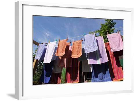 Farm, Clothesline, Towels-Catharina Lux-Framed Art Print