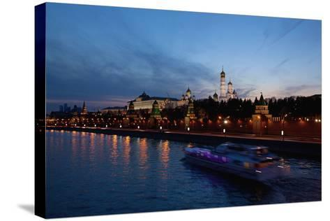 Moscow, Kremlin, View from the Moskva Shore, at Night-Catharina Lux-Stretched Canvas Print