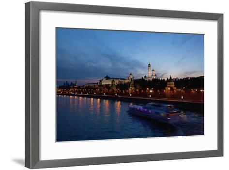 Moscow, Kremlin, View from the Moskva Shore, at Night-Catharina Lux-Framed Art Print