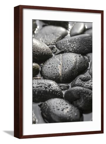 Black Stones in the Water, Zen, Spa-Uwe Merkel-Framed Art Print