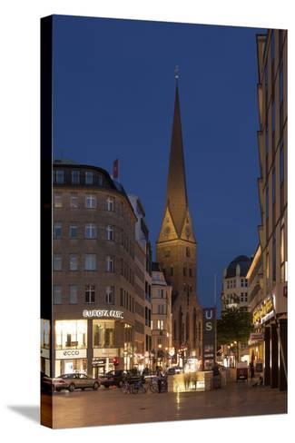 Hamburg, Jungfernstieg, St. Peter's Church, Dusk-Catharina Lux-Stretched Canvas Print