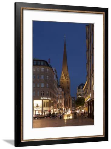 Hamburg, Jungfernstieg, St. Peter's Church, Dusk-Catharina Lux-Framed Art Print