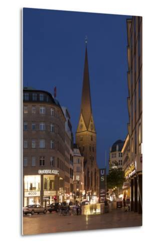 Hamburg, Jungfernstieg, St. Peter's Church, Dusk-Catharina Lux-Metal Print