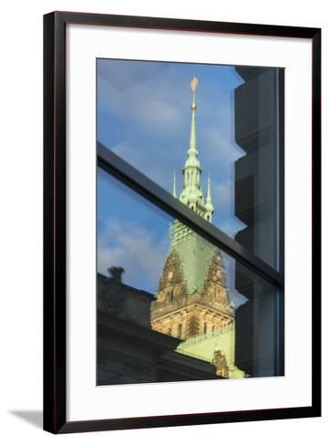 Hamburg, Reflection City Hall Tower-Catharina Lux-Framed Art Print
