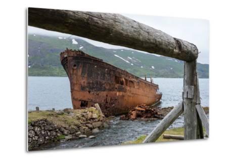 Iceland, Djupavik, Ship Wreck-Catharina Lux-Metal Print