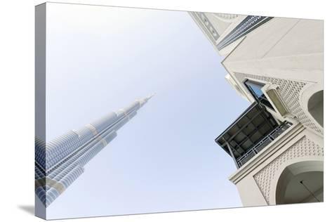 Burj Khalifa and Souk Al Bahar, Downtown Dubai, Dubai, United Arab Emirates, the Middle East-Axel Schmies-Stretched Canvas Print