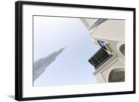 Burj Khalifa and Souk Al Bahar, Downtown Dubai, Dubai, United Arab Emirates, the Middle East-Axel Schmies-Framed Art Print