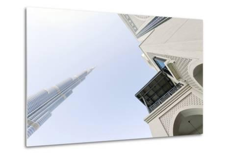 Burj Khalifa and Souk Al Bahar, Downtown Dubai, Dubai, United Arab Emirates, the Middle East-Axel Schmies-Metal Print