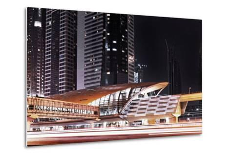 Golden Gleaming Roof of a Metro Station of the Rta in the Evening, Dubai Financial District-Axel Schmies-Metal Print