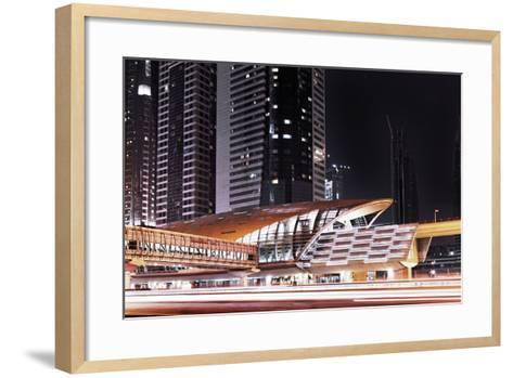 Golden Gleaming Roof of a Metro Station of the Rta in the Evening, Dubai Financial District-Axel Schmies-Framed Art Print