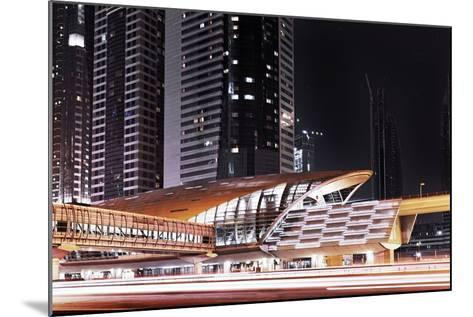 Golden Gleaming Roof of a Metro Station of the Rta in the Evening, Dubai Financial District-Axel Schmies-Mounted Photographic Print