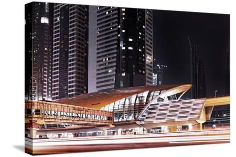 Golden Gleaming Roof of a Metro Station of the Rta in the Evening, Dubai Financial District-Axel Schmies-Stretched Canvas Print