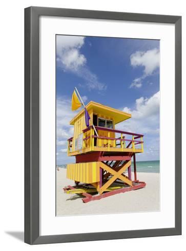 Beach Lifeguard Tower '3 Sts', Atlantic Ocean, Miami South Beach, Art Deco District, Florida, Usa-Axel Schmies-Framed Art Print