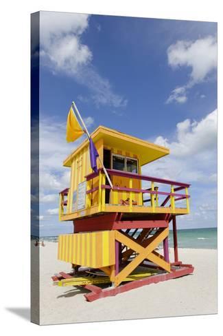 Beach Lifeguard Tower '3 Sts', Atlantic Ocean, Miami South Beach, Art Deco District, Florida, Usa-Axel Schmies-Stretched Canvas Print