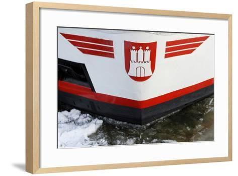 Longboat in the Harbour with Hamburg Coat of Arms, Floes, Harbour of Hamburg-Axel Schmies-Framed Art Print