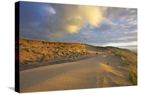 Stroller in the Costal Cliffs at the 'Rotes Kliff' on the Island of Sylt in the Evening Light-Uwe Steffens-Stretched Canvas Print