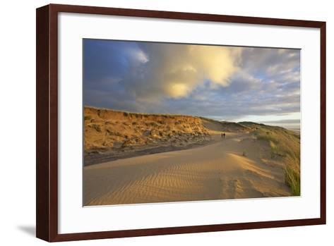 Stroller in the Costal Cliffs at the 'Rotes Kliff' on the Island of Sylt in the Evening Light-Uwe Steffens-Framed Art Print