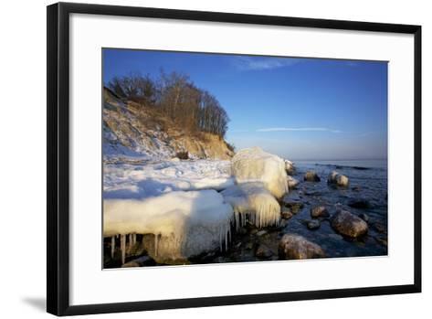Iced Up Brodten Shore Near TravemŸnde in the Morning Light-Uwe Steffens-Framed Art Print