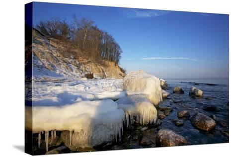 Iced Up Brodten Shore Near TravemŸnde in the Morning Light-Uwe Steffens-Stretched Canvas Print