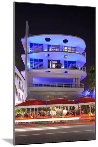Blue Illuminated Hotel at Night, Ocean Drive, Miami South Beach, Art Deco District, Florida, Usa-Axel Schmies-Mounted Photographic Print
