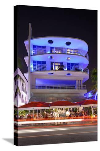 Blue Illuminated Hotel at Night, Ocean Drive, Miami South Beach, Art Deco District, Florida, Usa-Axel Schmies-Stretched Canvas Print
