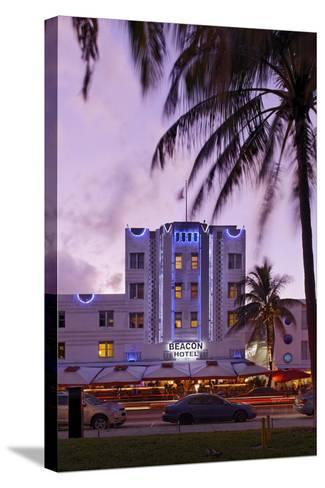 Beacon Hotel, Facade, Ocean Drive at Dusk, Miami South Beach, Art Deco District, Florida, Usa-Axel Schmies-Stretched Canvas Print