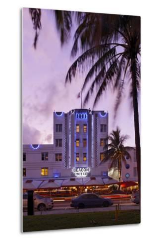 Beacon Hotel, Facade, Ocean Drive at Dusk, Miami South Beach, Art Deco District, Florida, Usa-Axel Schmies-Metal Print