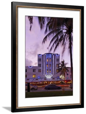 Beacon Hotel, Facade, Ocean Drive at Dusk, Miami South Beach, Art Deco District, Florida, Usa-Axel Schmies-Framed Art Print