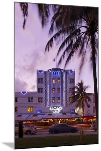Beacon Hotel, Facade, Ocean Drive at Dusk, Miami South Beach, Art Deco District, Florida, Usa-Axel Schmies-Mounted Photographic Print