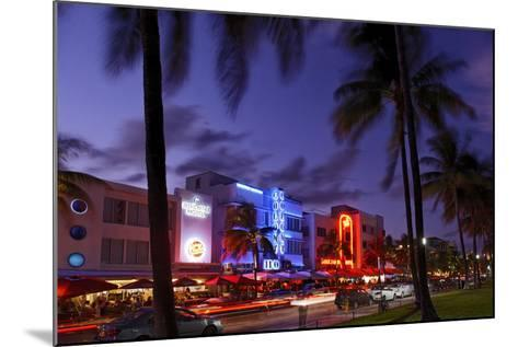 Colony Hotel, Facade, Ocean Drive at Dusk, Miami South Beach, Art Deco District, Florida, Usa-Axel Schmies-Mounted Photographic Print