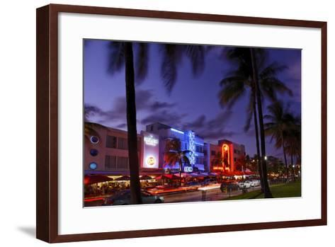 Colony Hotel, Facade, Ocean Drive at Dusk, Miami South Beach, Art Deco District, Florida, Usa-Axel Schmies-Framed Art Print