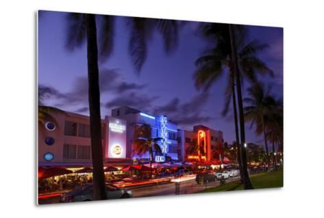 Colony Hotel, Facade, Ocean Drive at Dusk, Miami South Beach, Art Deco District, Florida, Usa-Axel Schmies-Metal Print