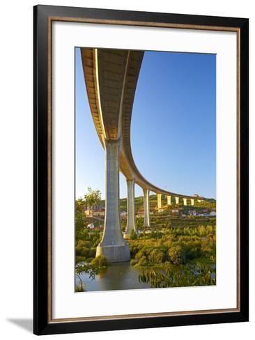 Portugal, Douro Valley, Rio Douro, Excursion Boat, Highway Bridge, Town Regua-Chris Seba-Framed Art Print