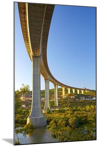Portugal, Douro Valley, Rio Douro, Excursion Boat, Highway Bridge, Town Regua-Chris Seba-Mounted Photographic Print