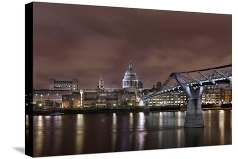 Millenium Bridge, Night Photography, St Paul's Cathedral, the Thames, London, England, Uk-Axel Schmies-Stretched Canvas Print