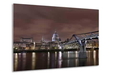 Millenium Bridge, Night Photography, St Paul's Cathedral, the Thames, London, England, Uk-Axel Schmies-Metal Print