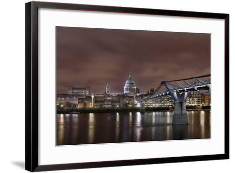 Millenium Bridge, Night Photography, St Paul's Cathedral, the Thames, London, England, Uk-Axel Schmies-Framed Art Print