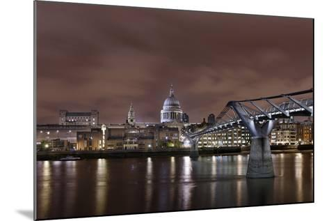 Millenium Bridge, Night Photography, St Paul's Cathedral, the Thames, London, England, Uk-Axel Schmies-Mounted Photographic Print